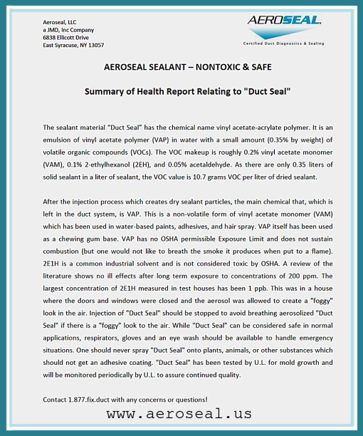 Aeroseal Safety Documentation